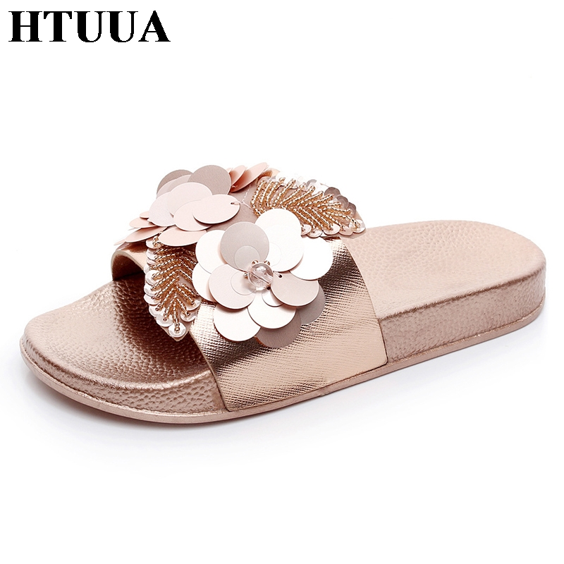 HTUUA 2018 New Women Bright Slippers Flower Non-slip Beach Flip Flops Shoes Indoor House Home Slippers Summer Flat Slides SX1078