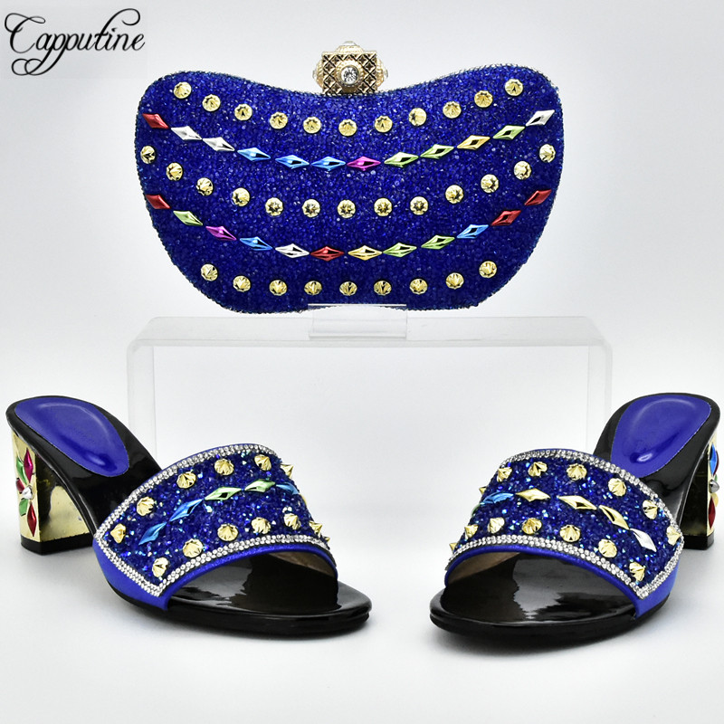 Capputine African Design Rhinestones Royal Blue Shoes And Bag Set For Wedding Italian Style High Heels Shoes And Purse DF-01 capputine italian fashion design woman shoes and bag set european rhinestone high heels shoes and bag set for wedding dress g40