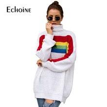 купить autumn Rainbow Striped Sweater Women 2019 Casual Winter Long Sleeve Knit Loose Pullovers Jumper Turtleneck Oversized Sweaters по цене 1153.44 рублей