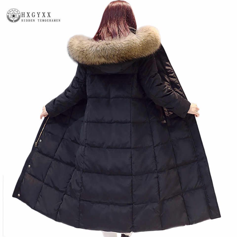 2017 Real Raccoon Fur White Duck Down Coat Winter Jacket Women Long Warm Solid Color Hooded Parka Plus Size Snow Outwear Okb167