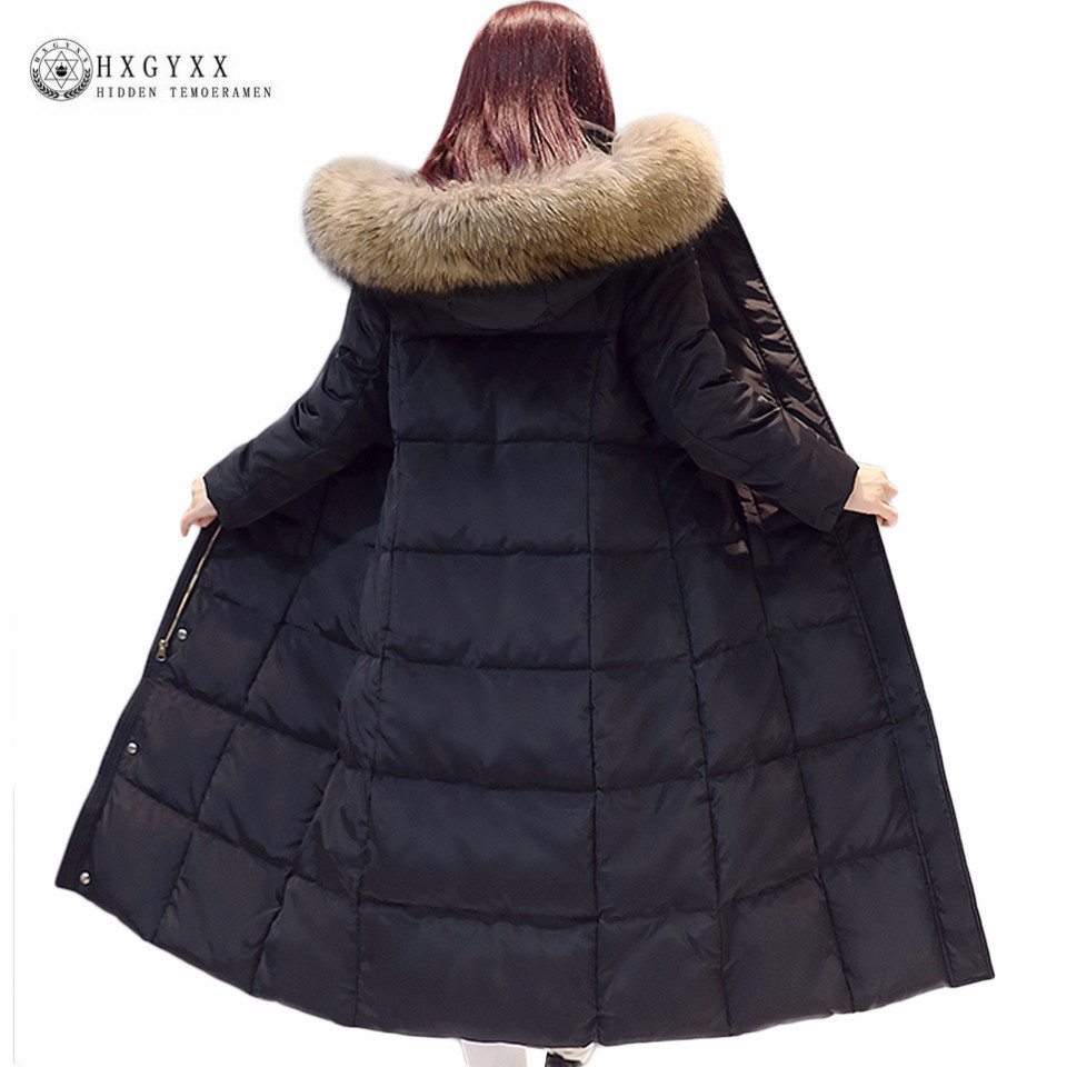 2018 Real Raccoon Fur White Duck Down Coat Winter Jacket Women Long Warm Solid Color Hooded Parka Plus Size Snow Outwear Okb167