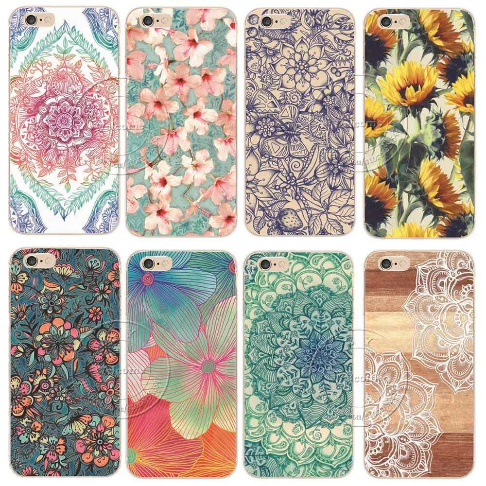 Mandala Flower Datura Floral Printing Phone Case Cover For Coque iPhone X XS Max XR 5 5S SE 5C 6 6S 7 8 Plus 8Plus Fundas Shell