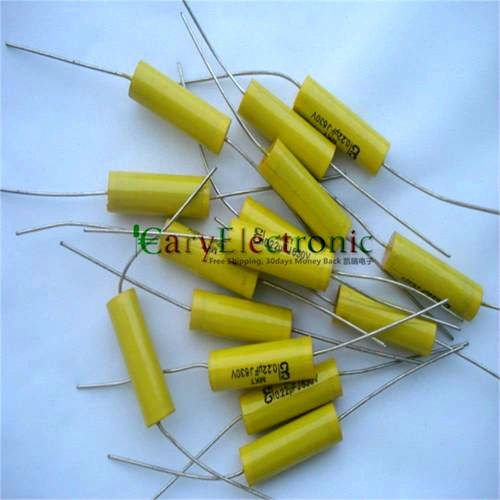 Wholesale 50pcs long leads yellow Axial Polyester Film font b Capacitors b font electronics 0 22uF