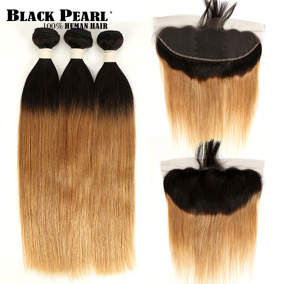 Black Pearl  Ombre Bundles With Closure Red Blonde Ombre Peruvian Hair Weave Ombre Straight Human Hair 3/4Bundles With Closure