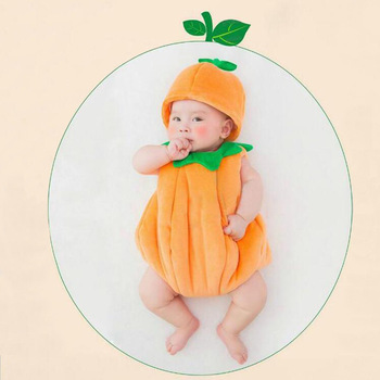Infant Baby Boy Girl Cute Pumpkin Photo Shoot Outfits Clothes New born Tiny Baby Photography Accessories Props foto Costume