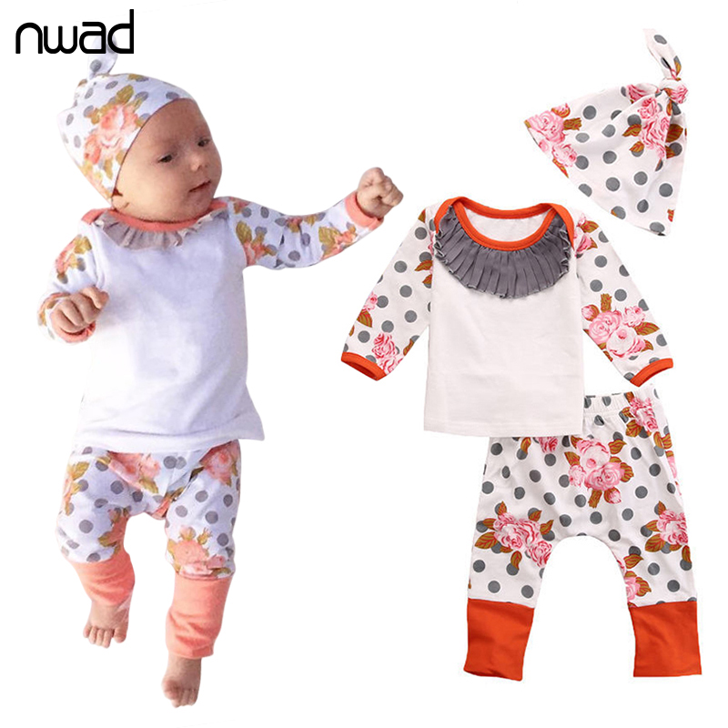 NWAD Infant Baby Clothes New Baby Girl Polka Dot Flower Clothing Set For Toddler Girls T Shirt + Long Pant +Cap FF231