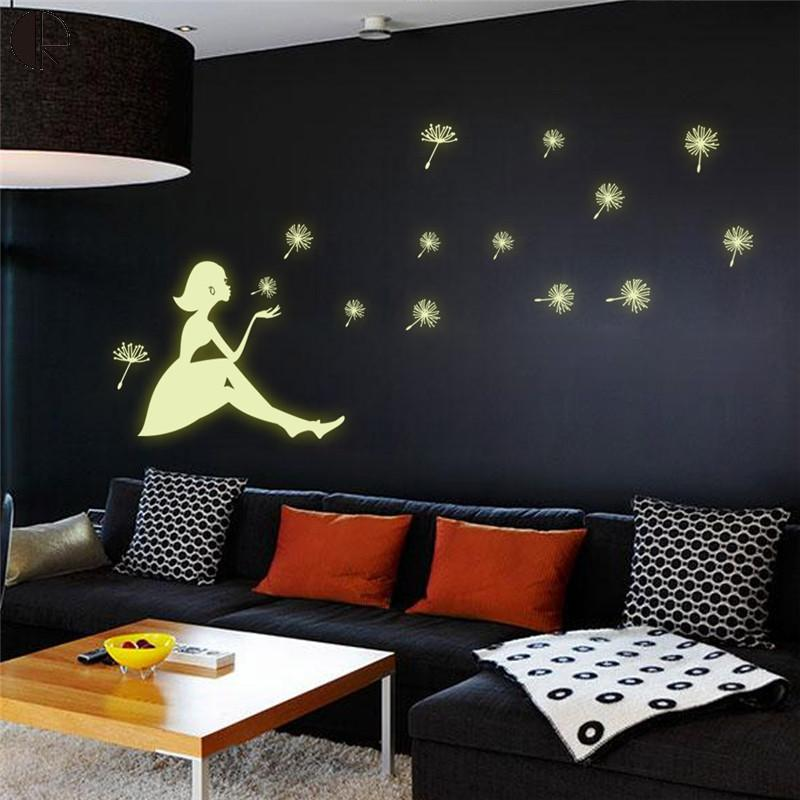 Hot Sale Dandelion Girl Home Wall Decoration Luminous Wall Stickers Vinyl Wall Art Decal ...