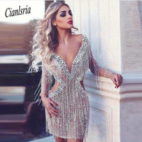 Elegant Cocktail Dresses 2019 Sheath Deep V neck Long Sleeves Tulle Beaded Crstyasl Party Sexy Homecoming Dresses