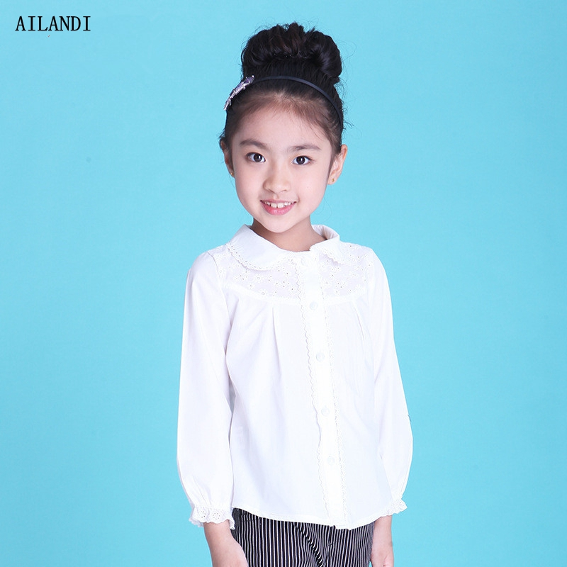2016 Autumn New Cute Child Gilrs Blouse Lolita Style Long Sleeve Hollow Lace School Toddler Girl Princess White Shirts Clothes