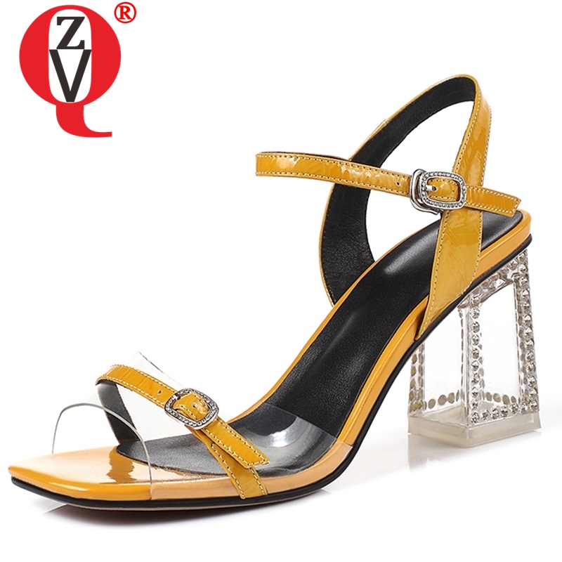 ZVQ Brand summer Genuine leather women s sandals fashion party wedding gold yellow pink green 7cm