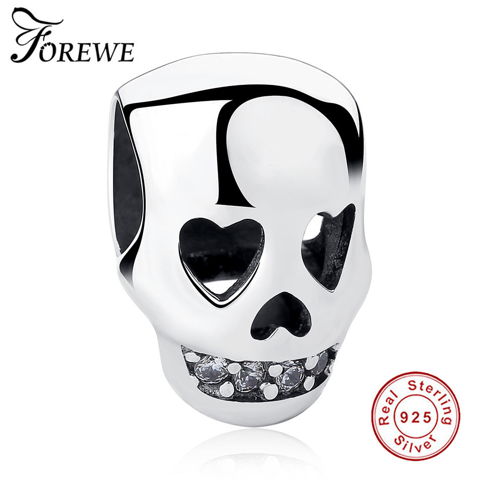 925 Sterling Silver Charms Clear CZ Skull Heart Beads Fit Pandora Charms Original Bracelet S925 Fashion Jewelry Halloween Gifts