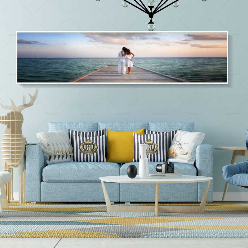 Sea Wave Beach Couple Surf Big Leaves Wall Art Canvas Painting Nordic Posters And Prints Wall Pictures For Living Room Decor