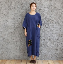 Large Bust Size 140cm Chinese Womens folk style cotton dress art loose 100kg Lady Wear Vintage Blue Long Robe Painter clothing