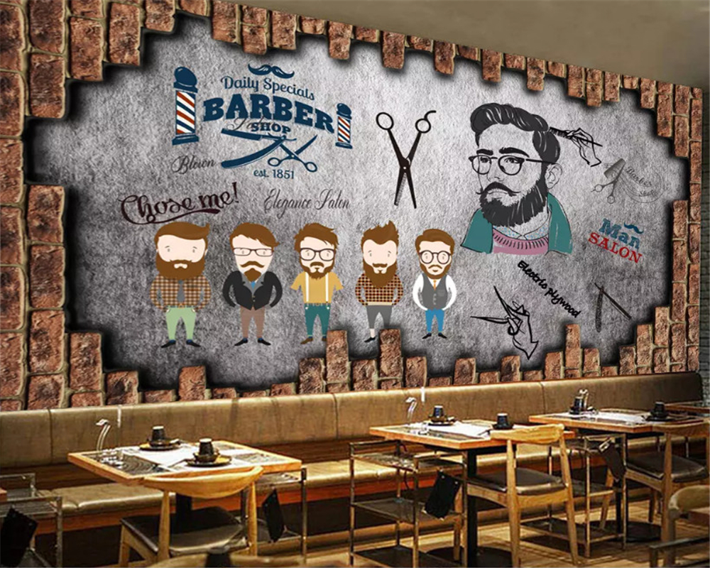 Beibehang Custom Size Modern Personality Interior Wall Paper Vintage Barber Beauty Background Papel De Parede Wallpaper