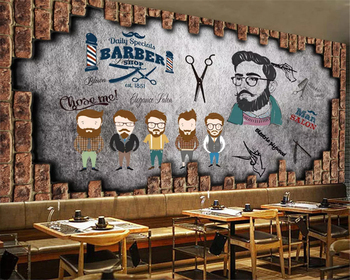 beibehang Custom size Modern personality interior wall paper vintage barber shop beauty background papel de parede 3d wallpaper
