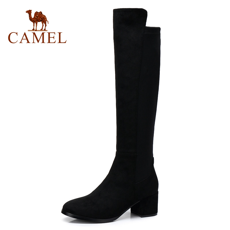 women winter boots stretch fabric fashion high heels women s boots elegant over the knee long boots winter boots CAMEL Over The Knee High Winter Long Boots Women Shoes Fashion Stretch Fabric Warm Round Toe High Heel Woman Plush Long Boots