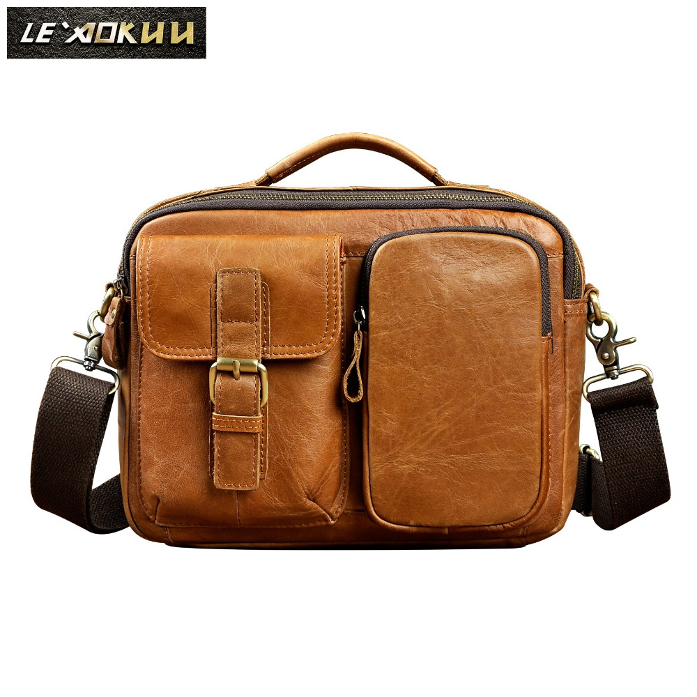 Quality Original Leather Male One Shoulder messenger bag cowhide fashion Cross body Bag 8 Pad Tote