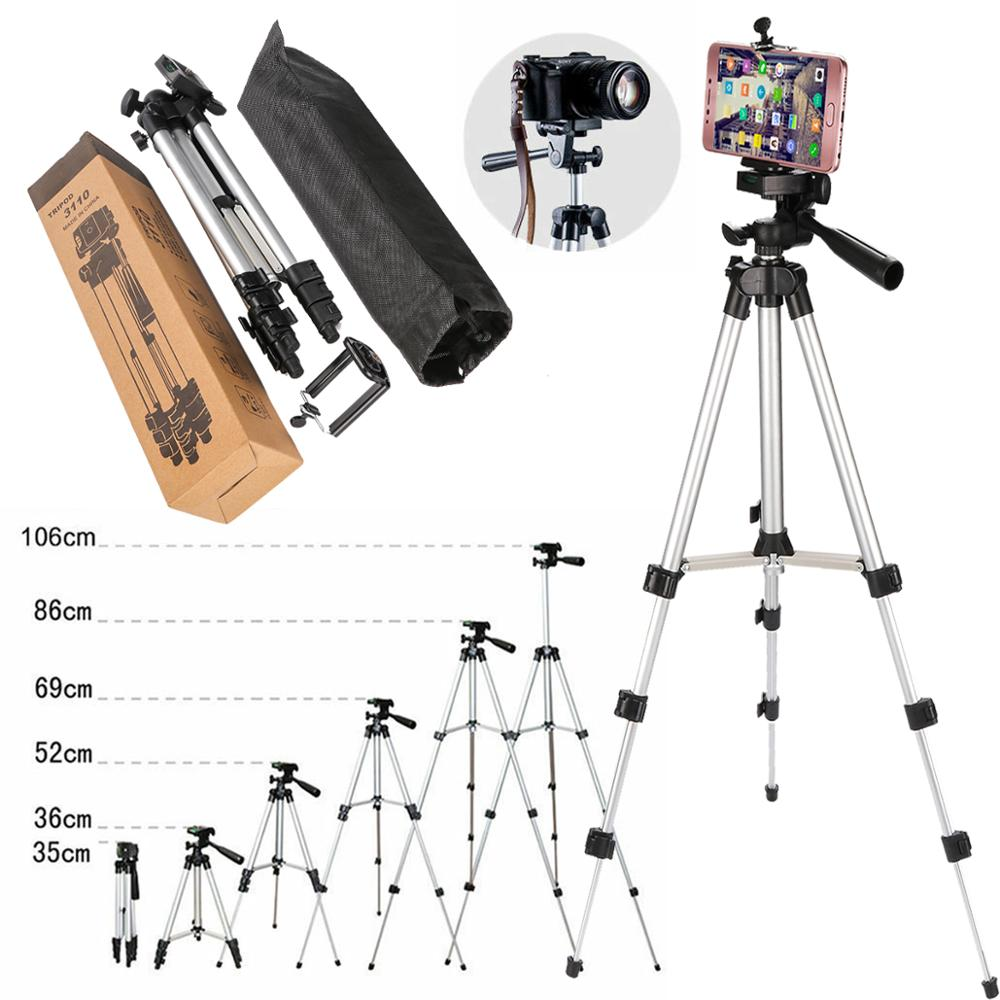 Professional Aluminum Camera Tripod Stand Holder + Phone Holder +Nylon Carry Bag for iPhone Samsung Smartphone four floor high