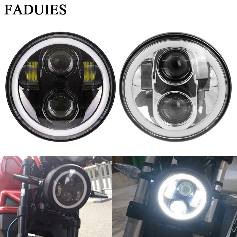 FADUIES For Harleys Lights 5 3/4 Black LED Headlight With Halo Ring For bike Sportster Iron 883 1200 Dyna Street Bob