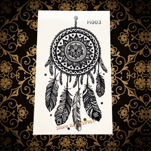 Hot Black Mandala Henna Temporary Tattoo Dream Catcher Designs Fake Waterproof Tattoo Stickers DreamCatcher Tatoo Women Feather