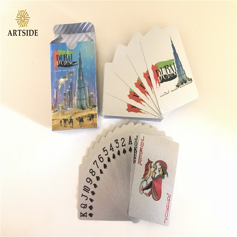 Novelty Dubai Style Silver Foil Playing Cards Deck in 999.9 Gold Plating Unusual Gift