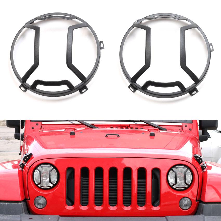YAQUICKA 2Pcs/set Car Front Head Light Lamp Guards Cover Trim Styling For Jeep Wrangler 2007-2016 Car-covers Aluminum Alloy silver aluminum car hawse fairlead for jeep wrangler 2007 2016