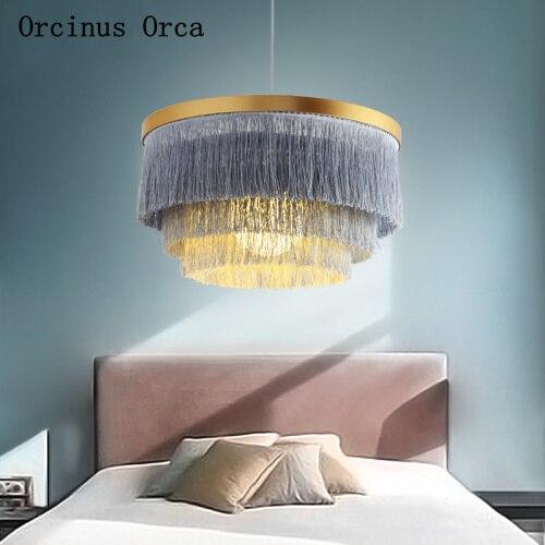 Postmodern Simple Color Tassels Chandelier Girl Bedroom Princess Room Lamp Nordic Creative Romantic LED Cloth Chandelier