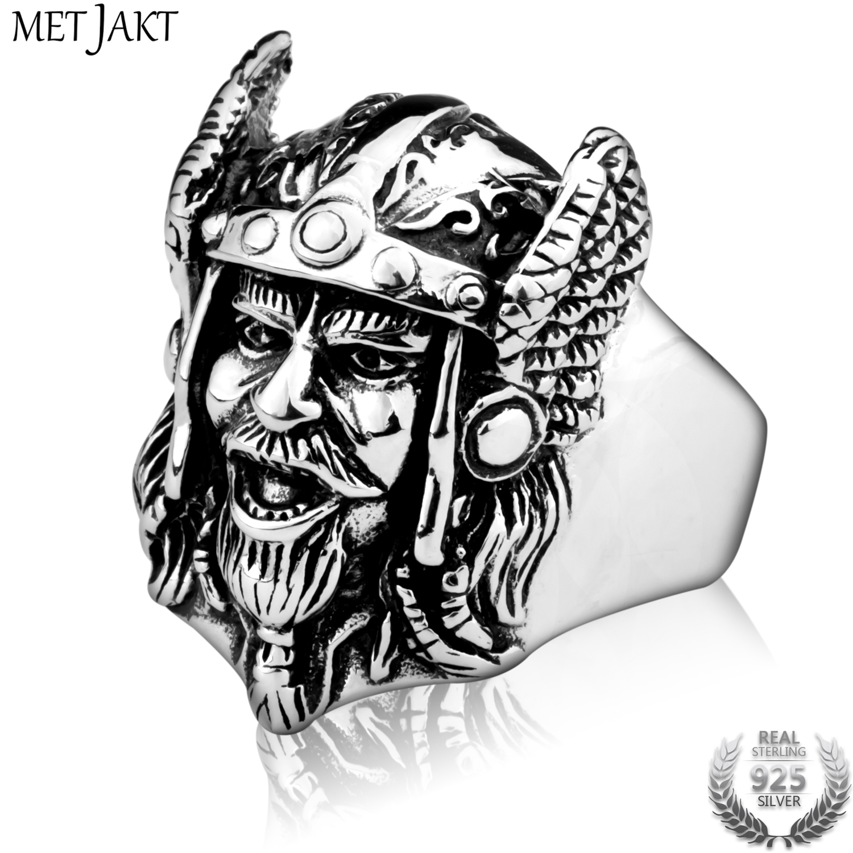 MetJakt hommes Punk Viking anneau solide 925 Sterling masque argent pour hommes bijoux personnalisés