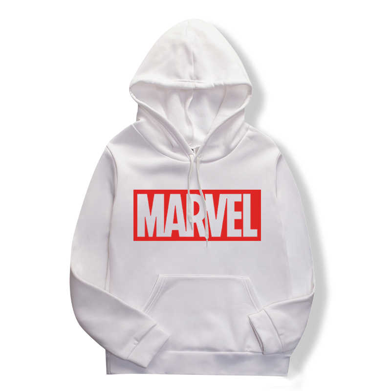 Spring/summer 2019 women's casual fashion couple hoodie, long-sleeved white hoodie with marvel monogram hoodie