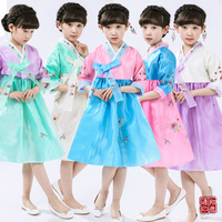 Multicolor Girls Short Korean Hanbok Dress Kids Asian National Costume Korean Traditional Dress Ethnic Minority Dance Hanbok 89