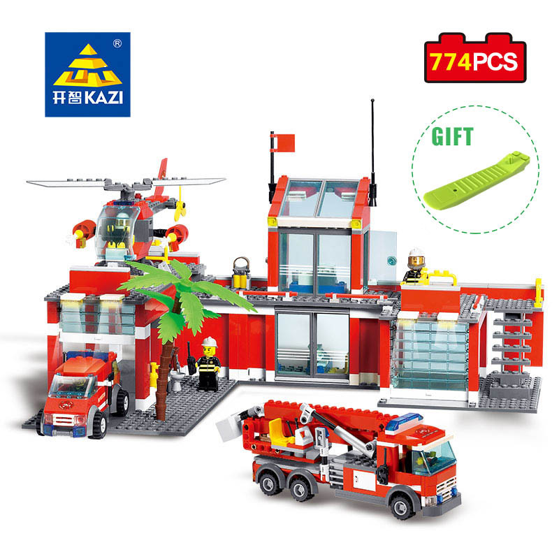 KAZI City Fire Station Firefighter Figures Building Blocks Compatible Legoed City Truck Enlighten Bricks Educational Toy For Kid new classic kazi 8051 city fire station 774pcs set building blocks educational bricks kids toys gifts city brinquedos xmas toy