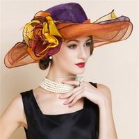 Orange purple elegant beach hat women linen wide brim wedding hat sombrero ladies chapeau femme fedora kentucky derby hat church