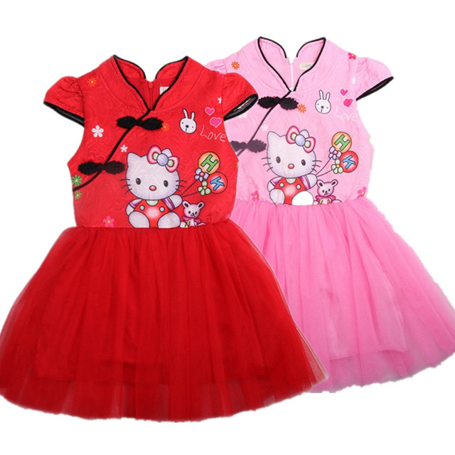 a3eeebac4 New Prom Dresses 2018 Summer Hello Kitty Baby Girls Dress Children Pattern  Elsa Dresses Queen Princess Party Wedding Kids Dress