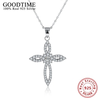 Real Solid 925 Sterling Silver Women Necklace Jewelry Christmas Gift Lovely Cute Folwer Cross Pendants Chain