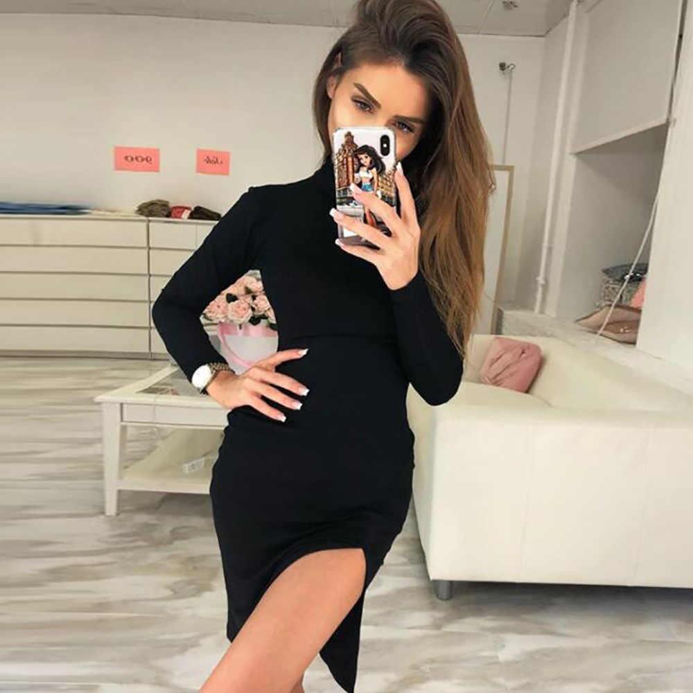 Uvkkc Women Dress Split Turtleneck Bodycon Long Sleeve Straight Solid Midi  Sexy Dress 2019 Spring Femme 9d19f56218d5