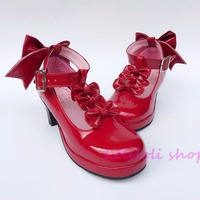Princess sweet lolita shoes Japanese design customized special shaped Wine red bow tie chunky heel shoes sandals an6640