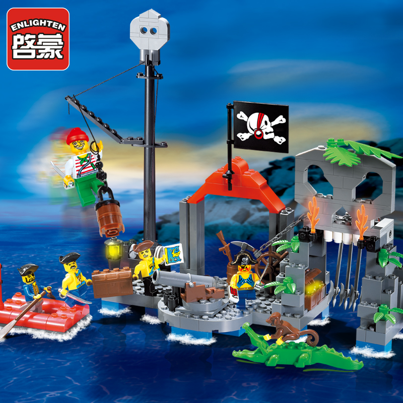 Enlighten Model building kits compatible with lego city Pirate Stronghold 852 3D blocks Educational toys hobbies for children enlighten 306 pirate ship scrap dock building blocks model toys compatible with lepin educational gift for children