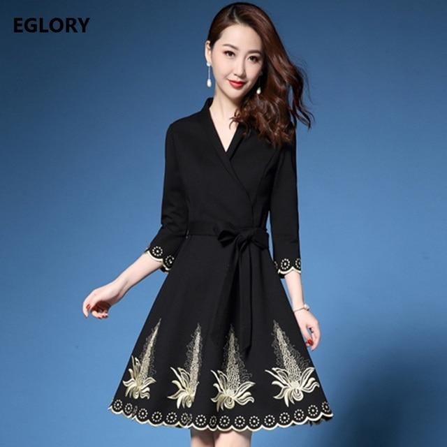 Golden Floral Embroidery Dress 1950s Style 2018 Spring Dress Elegant