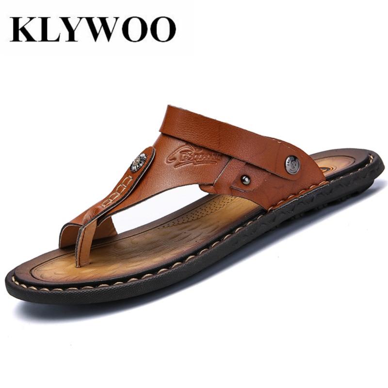 KLYWOO Mens Flip Flops Plus Size 47 Brand Summer Genuine Leather Sandals Men Casual Shoes Beach Shoes Native Male Sandals Slides
