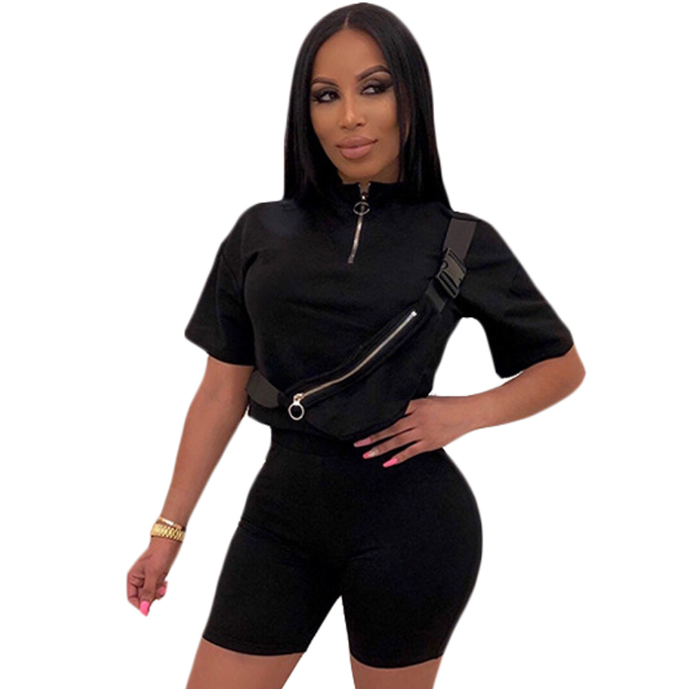 Summer Fashion Black Two Piece Set Bodysuit Zipper Short Pants Rompers Womens Jumpsuit Casual Bodycon Playsuit Holiday Suit in Rompers from Women 39 s Clothing