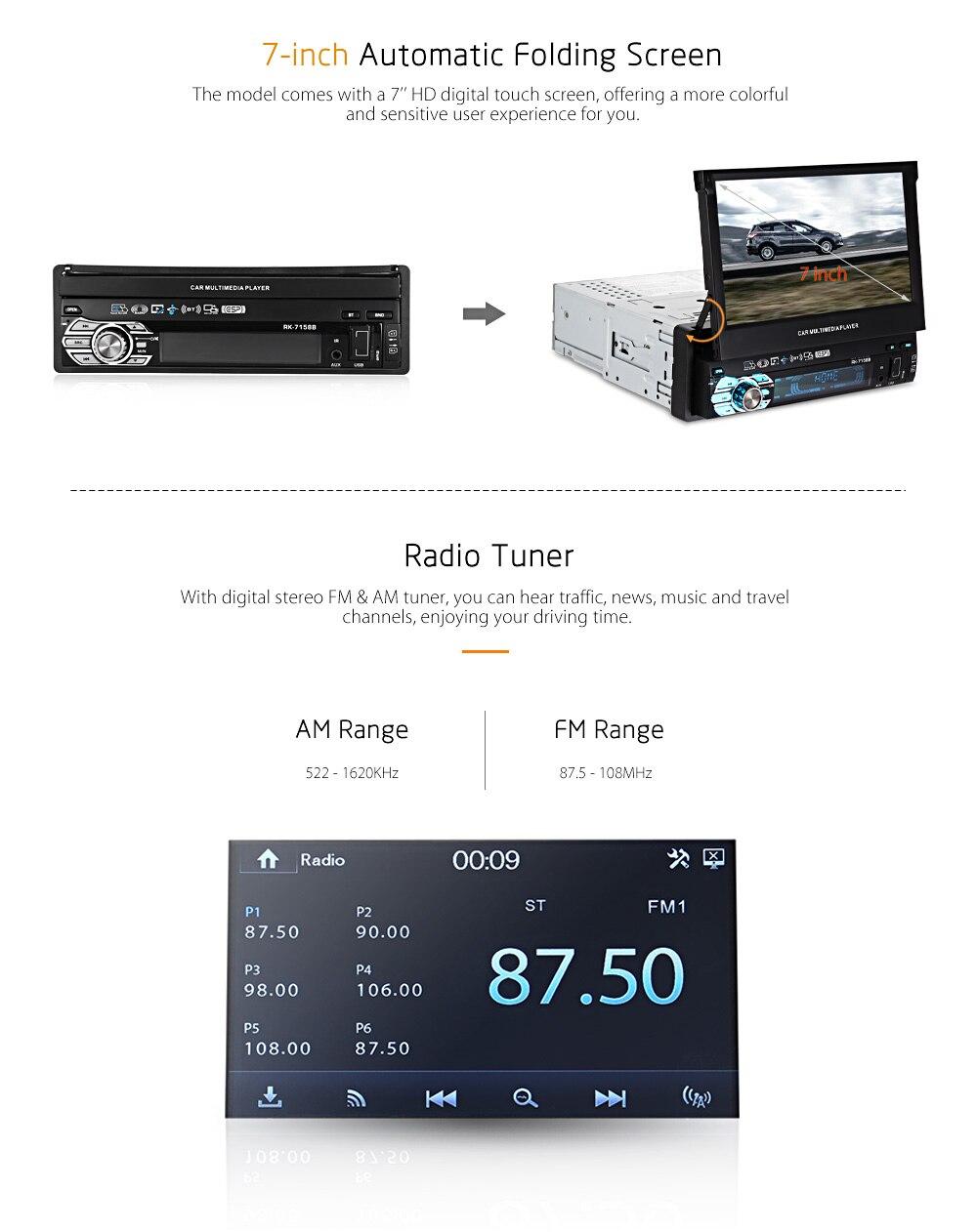 Универсальный 7 дюймов Автоматический Складной автомобильный мультимедийный плеер Bluetooth AM, FM радио Зеркало Ссылка автомобиля MP5 игроков пул...