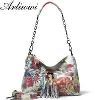 Arliwwi Designer floral print Ladies Shouder Bags 100% Real Leather Tote handbags Women New