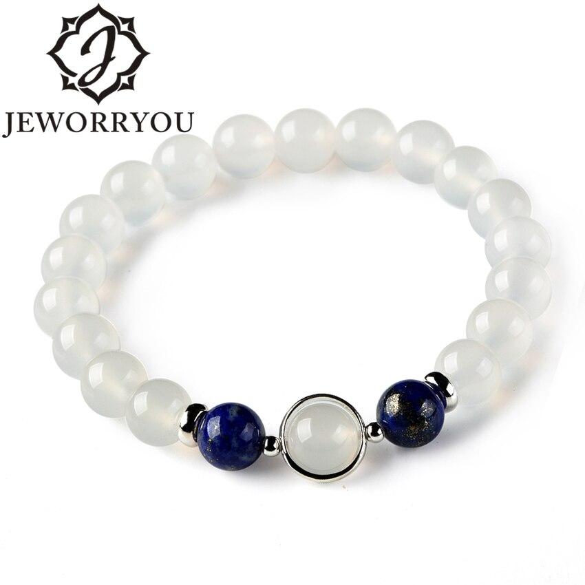 8mm Natural White Agate Bracelet Aquamarine 925 Silver Crystals Bracelet Strawberry Stone Bracelets For Women Bayan Bileklik