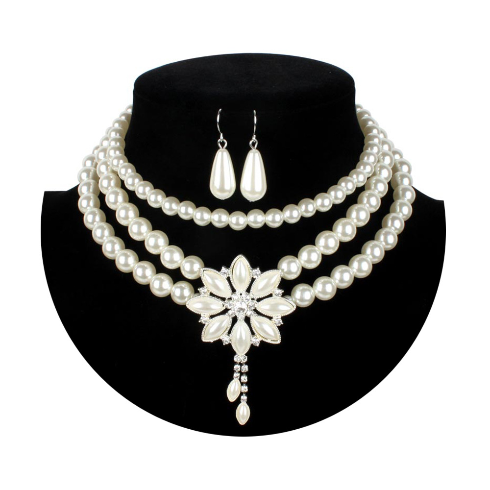 18adbe3e8 Luxury Bridal Pearl Necklace For Women Snow Flower Three Layer Pendants  Chunky Statement Collar Choker Fashion Party Jewelry-in Jewelry Sets from  Jewelry ...