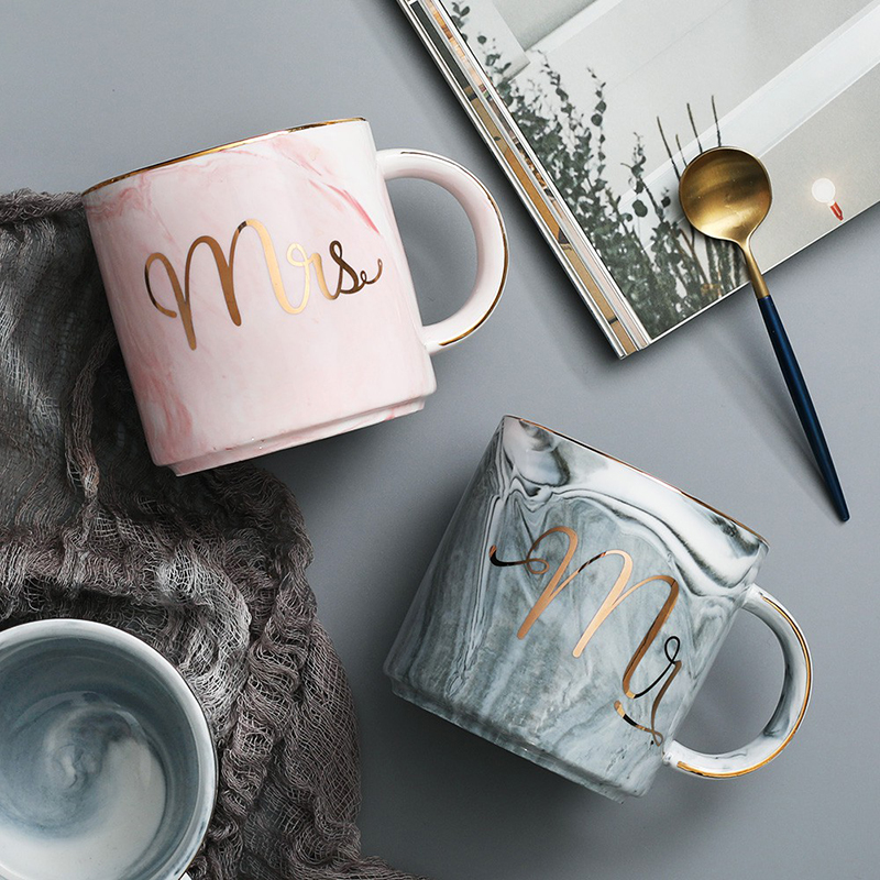 1pc Marble Tea <font><b>Cups</b></font> MR MRS Mug Drinking Milk <font><b>Cup</b></font> <font><b>Coffee</b></font> Couples Holder Bottle For Table Set Ceramic Water Glass Pots DA image