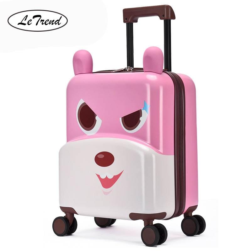 LeTrend śliczne Cartoon dzieci toczenia bagażu Spinner wielofunkcyjny jazdy siedzieć walizka koła 20 cal Student kabiny wózek dla dzieci w Walizka na kółkach od Bagaże i torby na  Grupa 2
