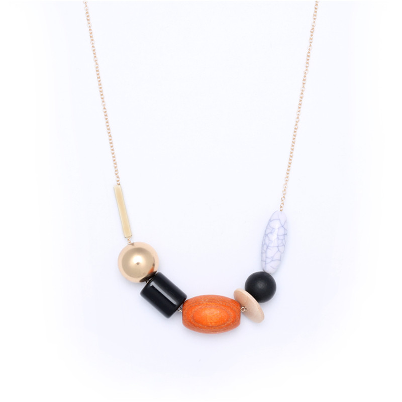 Vintage Fashion Bijoux Jewelry Long Chain Necklaces Wood Resin CCB Ornament Women Accessories Charms For Jewelry Necklace Kolye