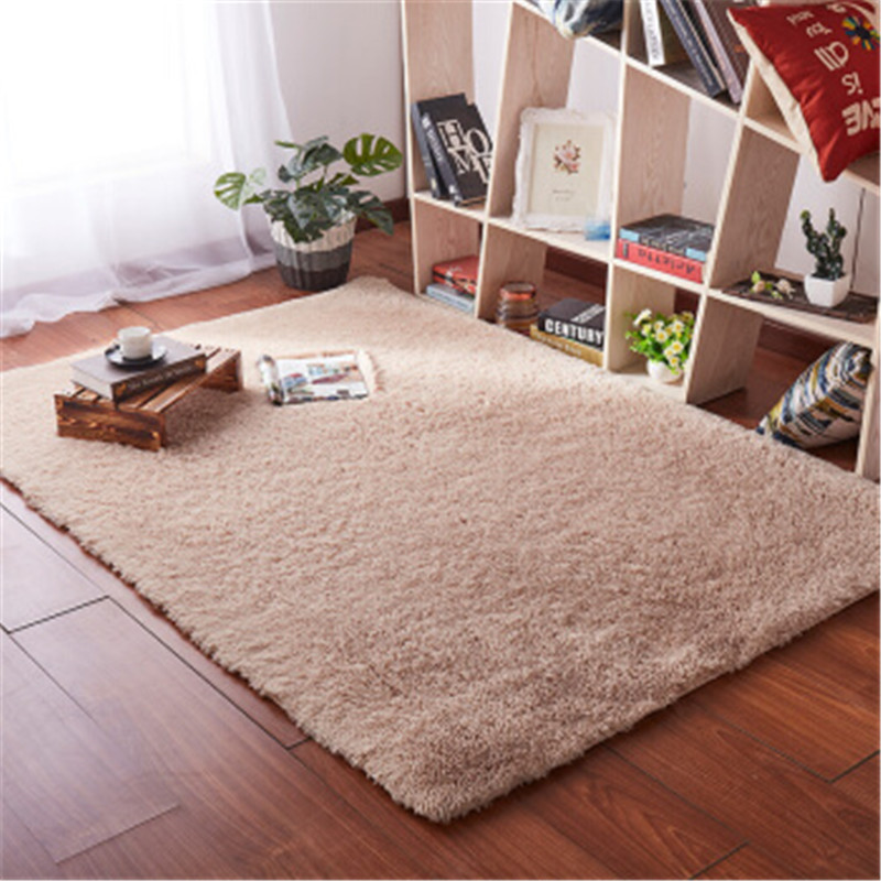 European Modern Rectangular Blanket Long Hair Non-slip Silk Floor Mat Living Room Coffee Table Rug Bedroom Bed Thick Carpet