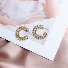 Europe America Hyperbolic Vintage INS Letter C Round Circle Geometric Simple Hoop Earrings Fashion Jewelry-LAF