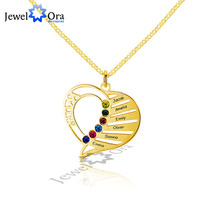 DIY Birthstone Family Necklace Personalized 925 Sterling Silver Heart Shape Name Necklace Mother S Day Gift